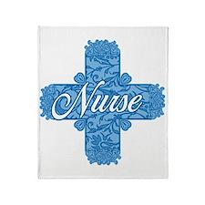 Nurse Blue Lacy Cross Throw Blanket