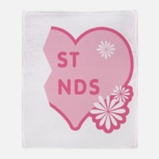 Pink Best Friends Heart Right Throw Blanket