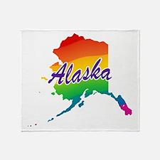 Rainbow State Alaska Throw Blanket