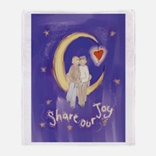 Cute Couple on Moon Throw Blanket