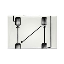 Rotate Wheels Rectangle Magnet