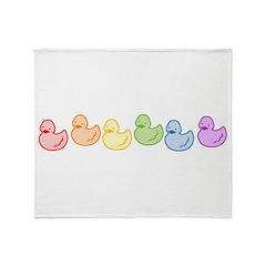 Rainbow Duckies Throw Blanket
