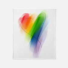 Rainbow Heart Throw Blanket