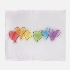 Rainbow Hearts Throw Blanket