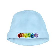 Rainbow Daisies baby hat