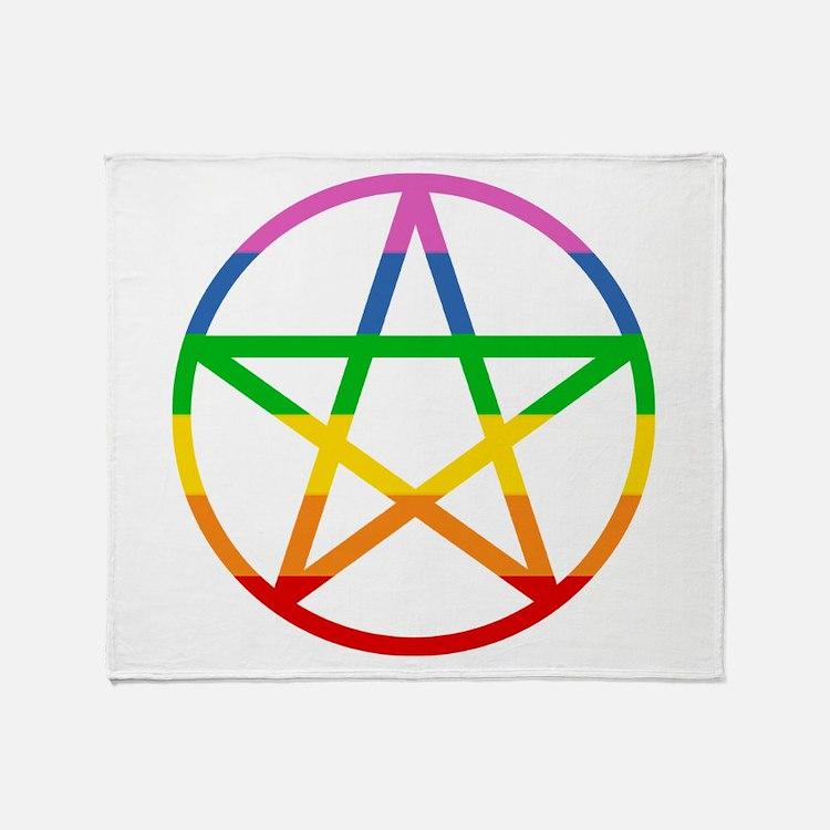 Rainbow Pentacle Throw Blanket