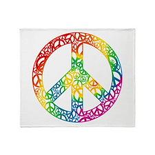 Rainbow Peace Symbols Throw Blanket