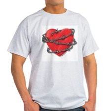 Barbed Wire Heart Ash Grey T-Shirt