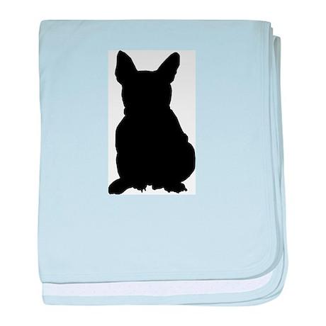French Bulldog Silhouette baby blanket