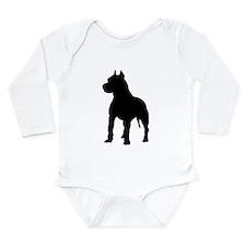 Pit Bull Terrier Silho Long Sleeve Infant Bodysuit