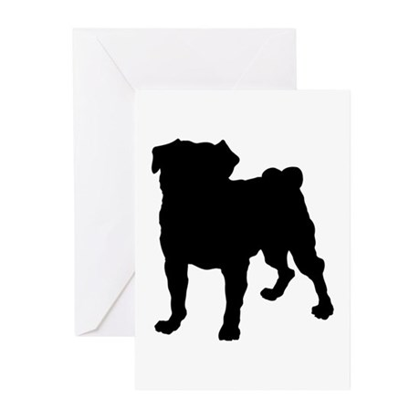 Pug Silhouette Greeting Cards (Pk of 10)