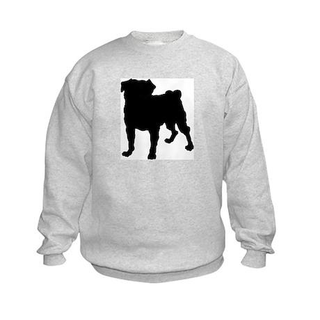 Pug Silhouette Kids Sweatshirt