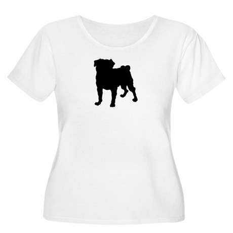 Pug Silhouette Women's Plus Size Scoop Neck T-Shir