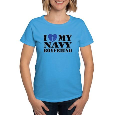 I Love My Navy Boyfriend Women's Dark T-Shirt