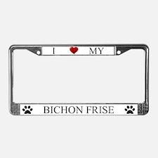 White I Love My Bichon Frise Frame
