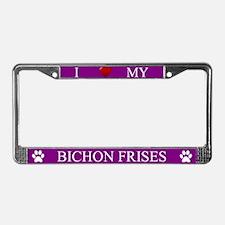 Purple I Love My Bichon Frises Frame