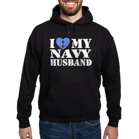I Love My Navy Husband Hoodie (dark)