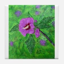 ROSE OF SHARON PAINTING Tile Coaster