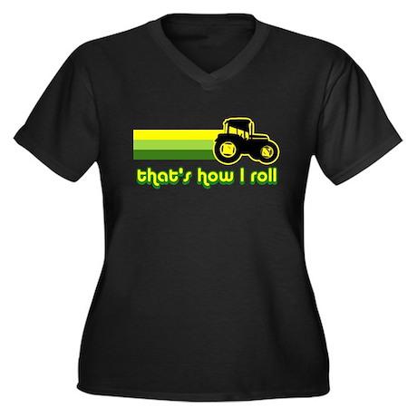 Tractor Rollin' Women's Plus Size V-Neck Dark T-Sh