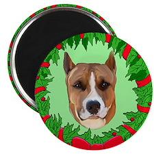 Pitbull Christmas Magnet