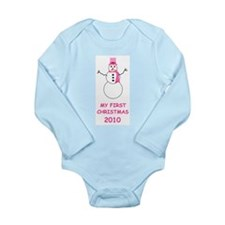 My First Christmas Pink Long Sleeve Infant Bodysui
