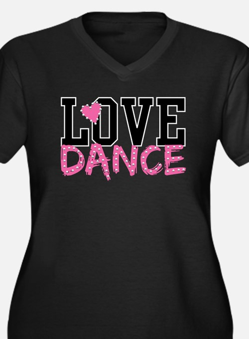 Cute Love dance Women's Plus Size V-Neck Dark T-Shirt