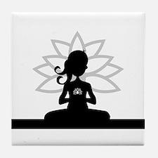 Yoga Girl Silhouette Tile Coaster