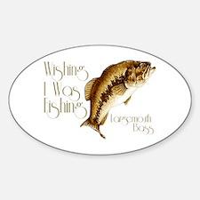 Wishing I Was Fishing Sticker (Oval)