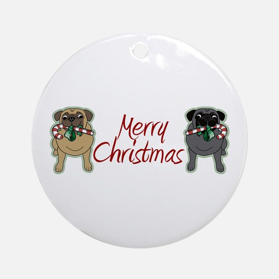 Candy Cane Fawn and Black Ornament (Round)