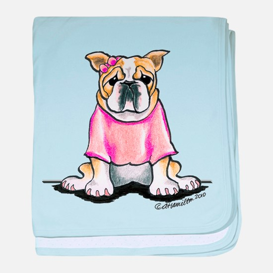 Girly Bulldog baby blanket