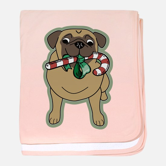 Candy Cane Pug baby blanket