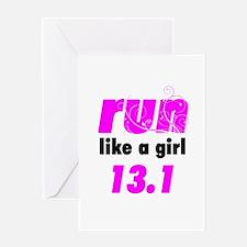 Run Like A Girl 13.1 Greeting Card
