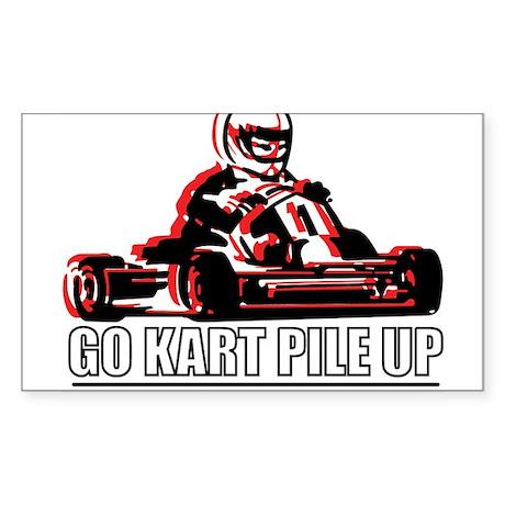 Go Kart Pile Up Rectangle Sticker