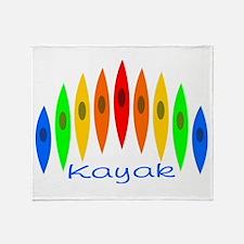 Rainbow of Kayaks Throw Blanket