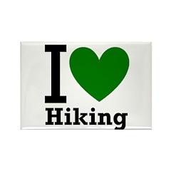 I Love Hiking Green Rectangle Magnet