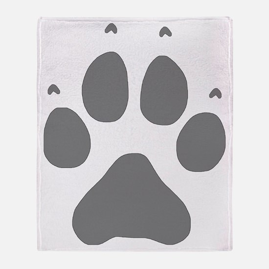 Wolf Paw Print Throw Blanket