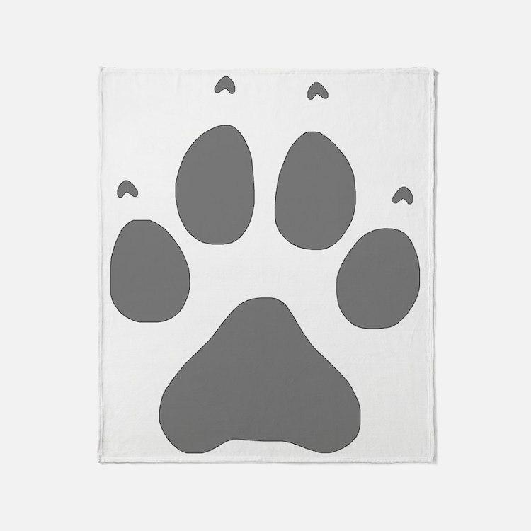 Wolf Paw Print Throw Blanket