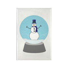 Snow Globe Snowman Rectangle Magnet (100 pack)