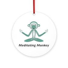 Meditating Monkey Ornament (Round)