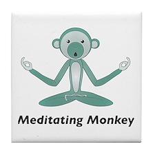 Meditating Monkey Tile Coaster