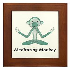 Meditating Monkey Framed Tile
