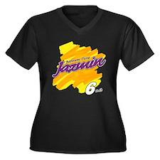Jazmin Tissue Women's Plus Size V-Neck Dark T-Shir