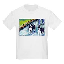 Boston Terrier walkers Kids T-Shirt