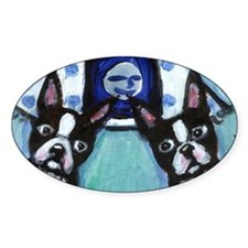 Boston Terrier Two smiling mo Oval Decal