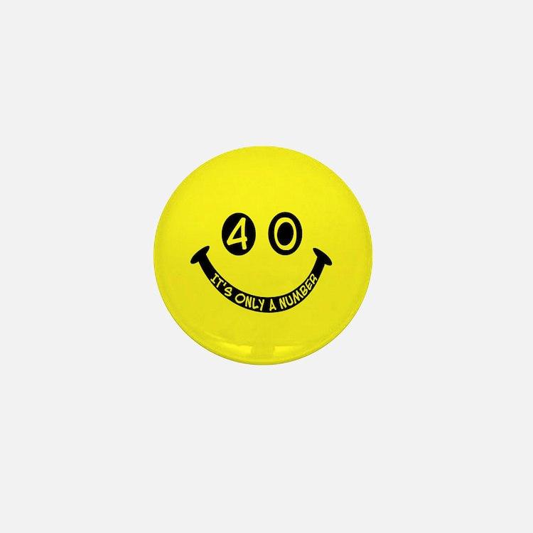 40th birthday smiley face Mini Button