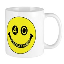 40th birthday smiley face Small Mugs