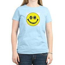 40th birthday smiley face Women's Pink T-Shirt