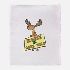 Moose Gone Wild Throw Blanket
