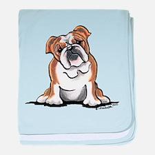 Brown White Bulldog baby blanket