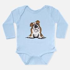 Brown White Bulldog Long Sleeve Infant Bodysuit